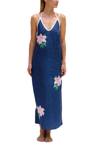 FANM MON Layite Navy Long Embroidered Linen Dress