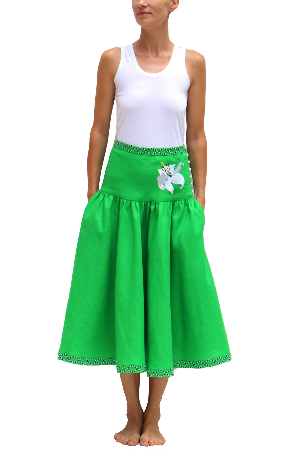 Green Linen Skirt with White Embroidery Long Skirt