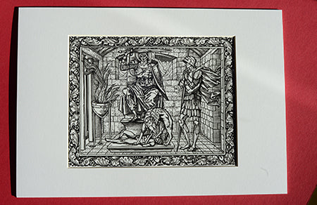 Set of 6 x A4 Kelmscott Chaucer Prints; Knight's Tale; 6 A4 Prints with A3 frame-size mounts
