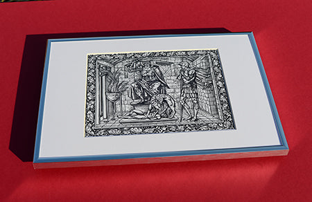 Set of 6 x A4 Kelmscott Chaucer Prints; Knight's Tale; 6 A4 Prints in A3 silver border Frames