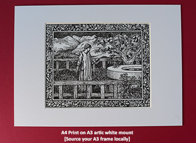 A4 Kelmscott Chaucer Prints; Frontispiece;  A4 Print in A3 artic white mount ready to frame