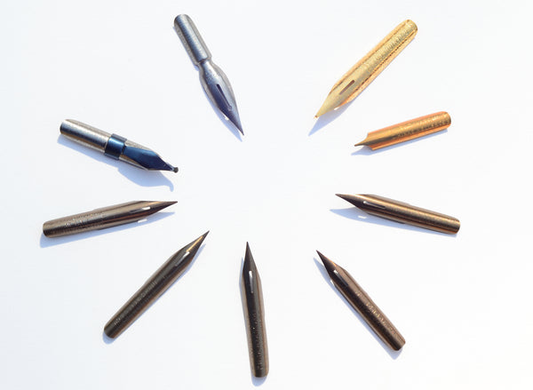 Collection of Birmingham manufactured pen nibs No. 1 - 9