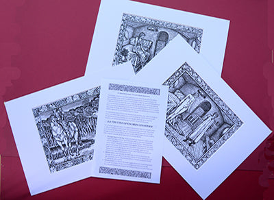 Set of 3 x A4 Kelmscott Chaucer Prints; Tale of the Wife of Bath; 3 A4 Prints with A3 frame-size mounts