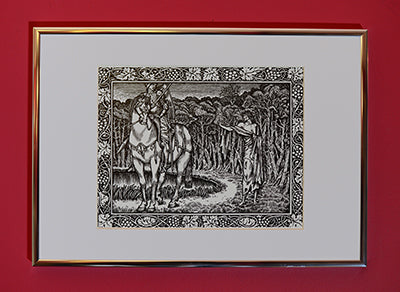 Set of 3 A4 Kelmscott Chaucer Prints; Tale of the Wife of Bath; 3 A4 Prints in A3 silver border frames