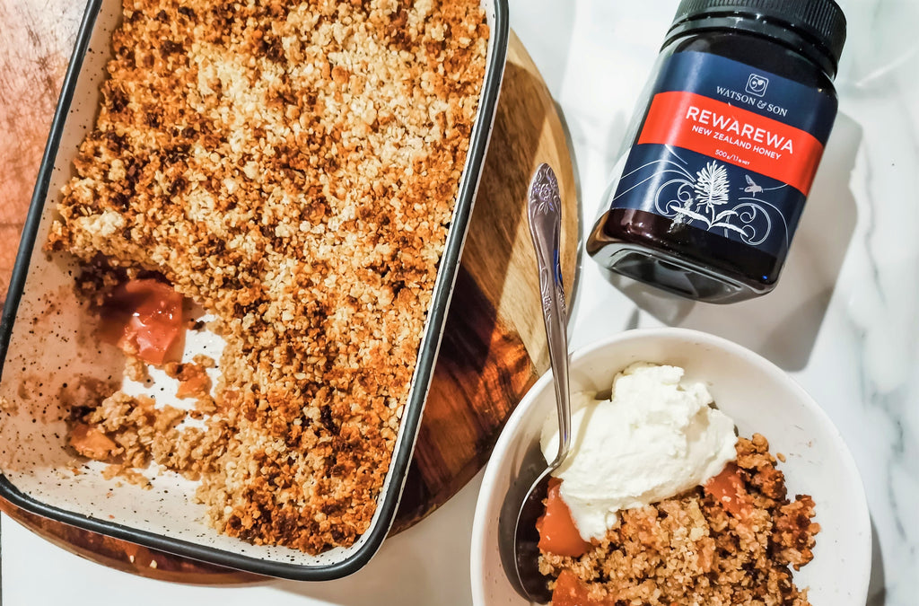 Rewarewa Honey & Apple Crumble