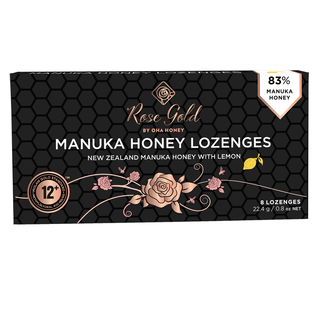 Rose Gold Manuka Honey Lozenges with Lemon
