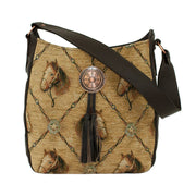 American WestBridle and Bits Tapestry Soft Zip Top Shoulder Hobo