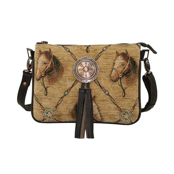 American WestBridle and Bits Tapestry Multi-Compartment Crossbody