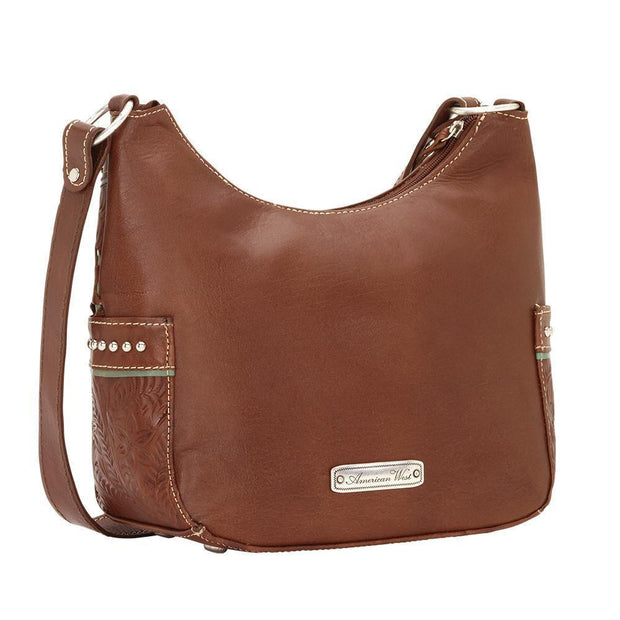 American WestLady Lace Zip-Top Everyday Hobo With Side Pockets