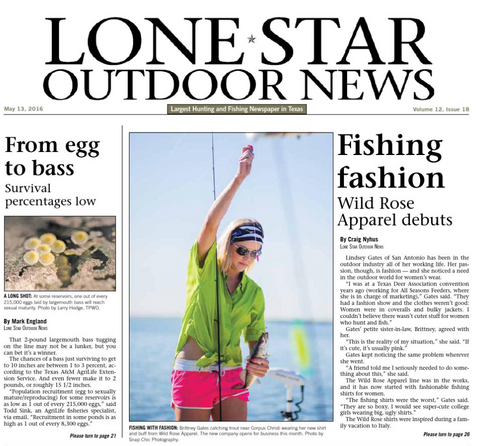 Wild Rose on the cover of Lone Star Outdoor News