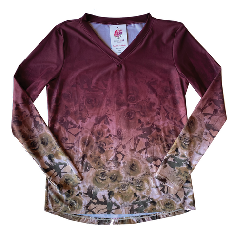 Wild Rose Camo UPF50+ V-Neck