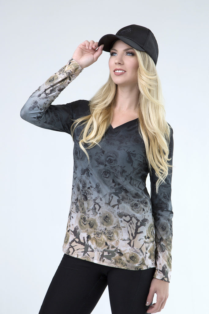 Wild Rose Original Camo Black UPF50+ V-Neck