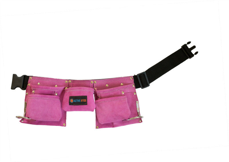kids pink leather tool belt