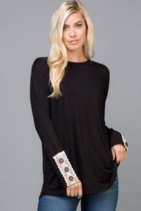 """Lacy's"" Lace Sleeve Top"