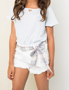 Kids Distressed Shorts With Belt