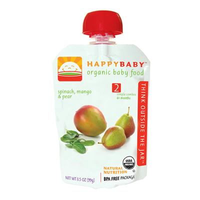 Happy Baby Organic Stage 2 Pouch Foods Spinach Mango & Pear