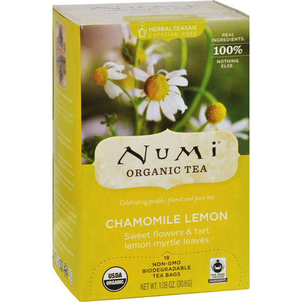 Numi Organic Tea Caffeine Free Chamomile Lemon - 18 Tea Bags - Case Of 6