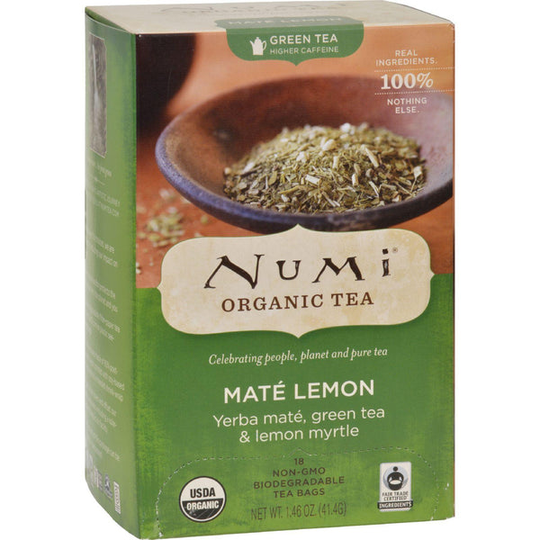 Numi Rainforest Green Tea Mate Lemon - 18 Tea Bags - Case Of 6