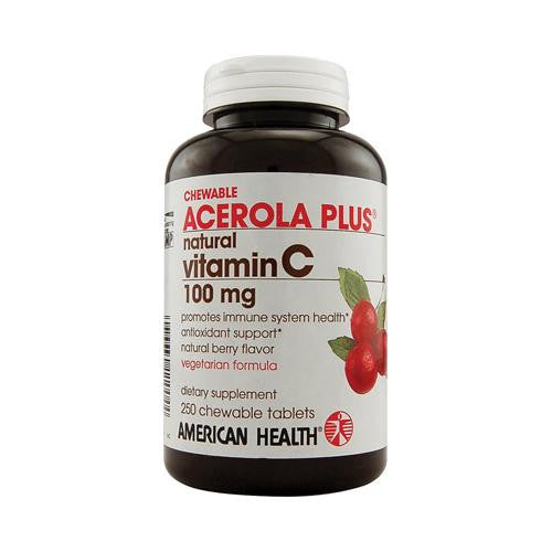 American Health Acerola Plus Natural Vitamin C Chewable Berry - 100 Mg - 250 Chewables - evoxMarket