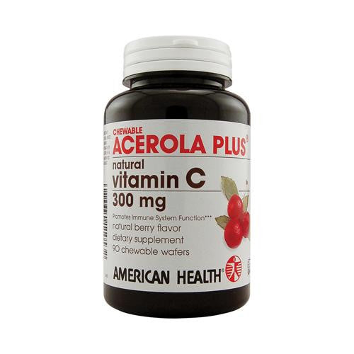 American Health Acerola Plus Natural Vitamin C Chewable Berry - 300 Mg - 90 Chewable Wafers - evoxMarket