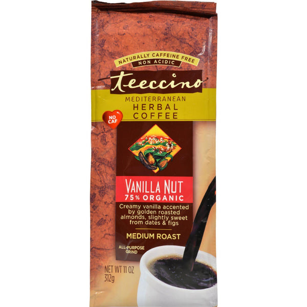 Teeccino Mediterranean Herbal Coffee - Medium Roast - Caffeine Free - Vanilla Nut - 11 Oz