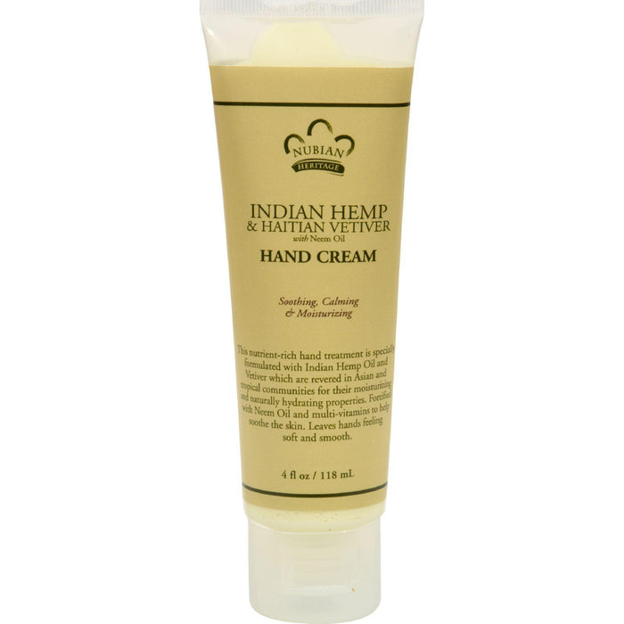 Nubian Heritage Hand Cream Indian Hemp And Haitian Vetiver -