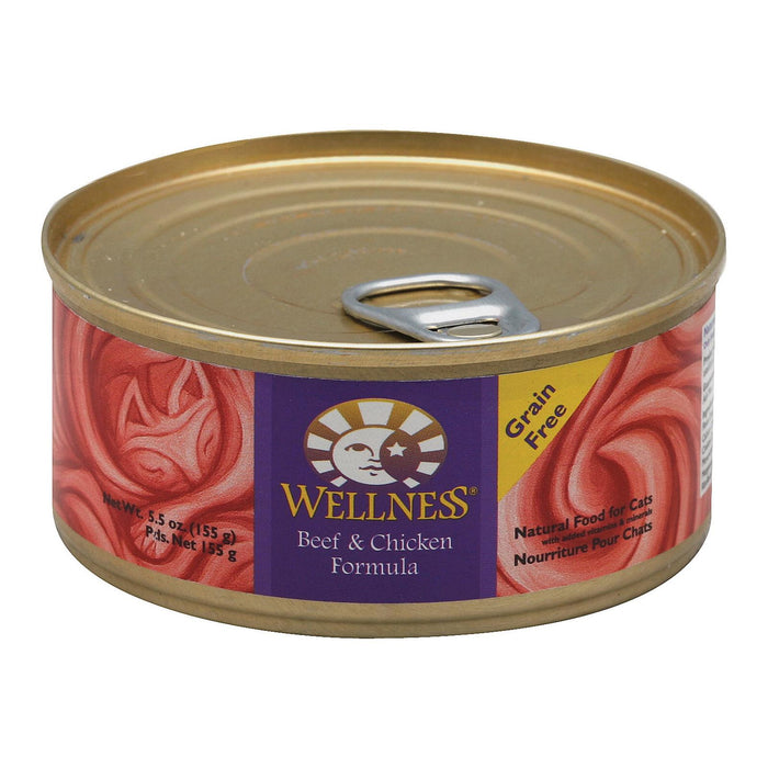 Wellness Pet Products Cat Food - Beef And Chicken - Case Of 24 - 5.5 Oz.