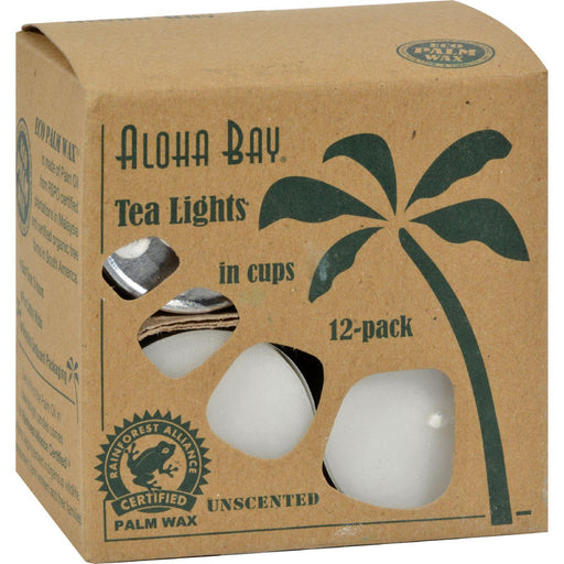 Aloha Bay - Palm Wax Tea Lights With Aluminum Holder - 12