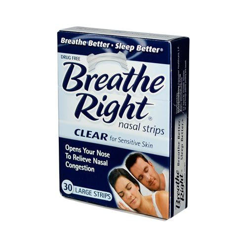Breathe Right Nasal Strips Clear Large - 30 Strips - evoxMarket