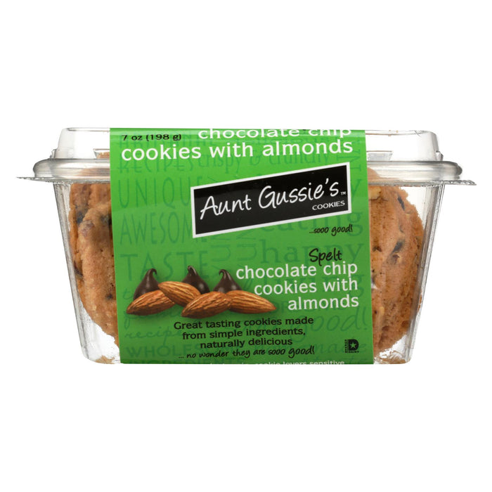 Aunt Gussie's Chocolate Chip Cookies And Almonds - Sugar Free - Case Of 8 - 7 Oz.