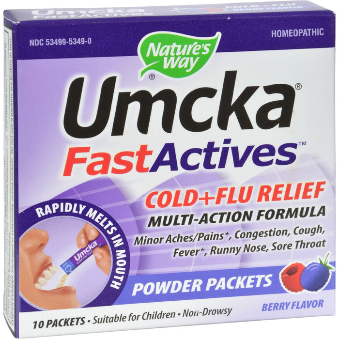 Nature's Way - Umcka Fastactives Cold Plus Flu Relief Berry - 10 Packets