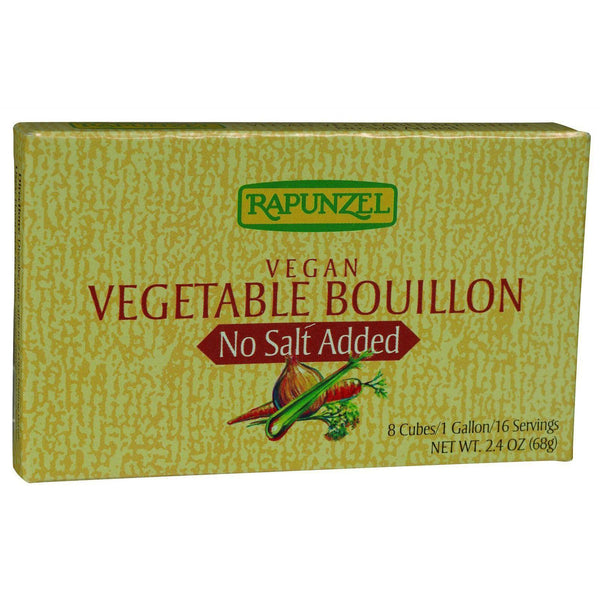 Rapunzel Bouillon Cubes - Vegetable - Vegan - No Salt Added - 2.4 Oz - Case Of 12