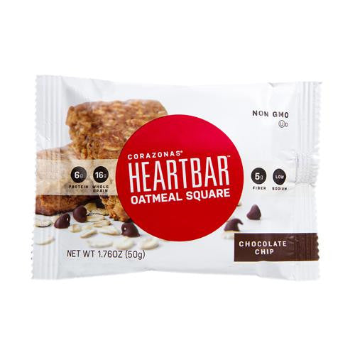 Corazonas Oatmeal Squares - Chocolate Chip - Case Of 12 - 1.76 Oz - evoxMarket