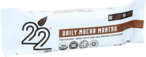 22 Days Nutrition Organic Protein Bar - Daily Mocha Mantra - Case Of 12 - 1.7 Oz Bars - evoxMarket