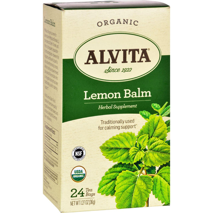 Alvita Tea - Organic - Lemon Balm Herbal - 24 Tea Bags