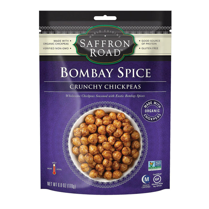 Saffron Road Crunchy Chickpeas - Bombay Spices - Case Of 12