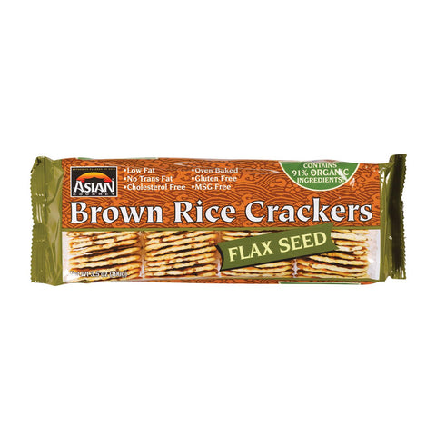 Asian Gourmet Rice Cracker - Flax Seed - Case Of 12 - 3.5 Oz