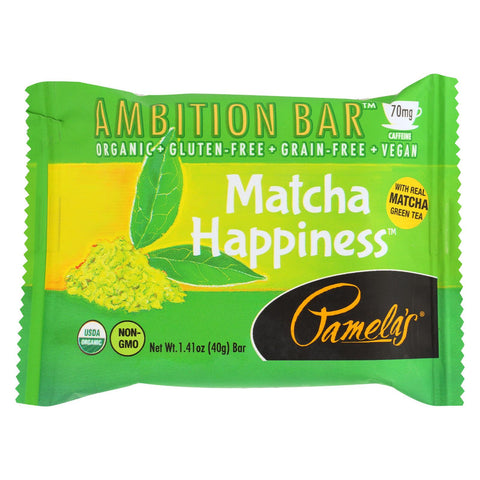 Pamela's Products Ambition Bar - Matcha Happiness - Case Of 12 - 1.41 Oz
