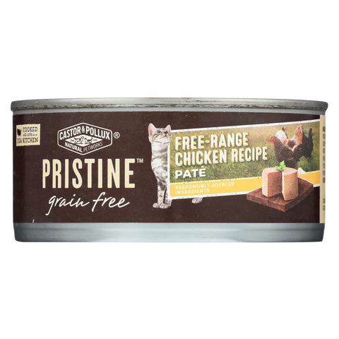 Castor And Pollux - Pristine Grain Free Wet Cat Food - Free-range Chicken Recipe - Case Of 24 - 5.5 Oz.