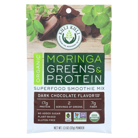 Kuli Kuli Moringa Greens And Protein Powder - Dark Chocolate - 12 Ct 1.3 Oz Packet