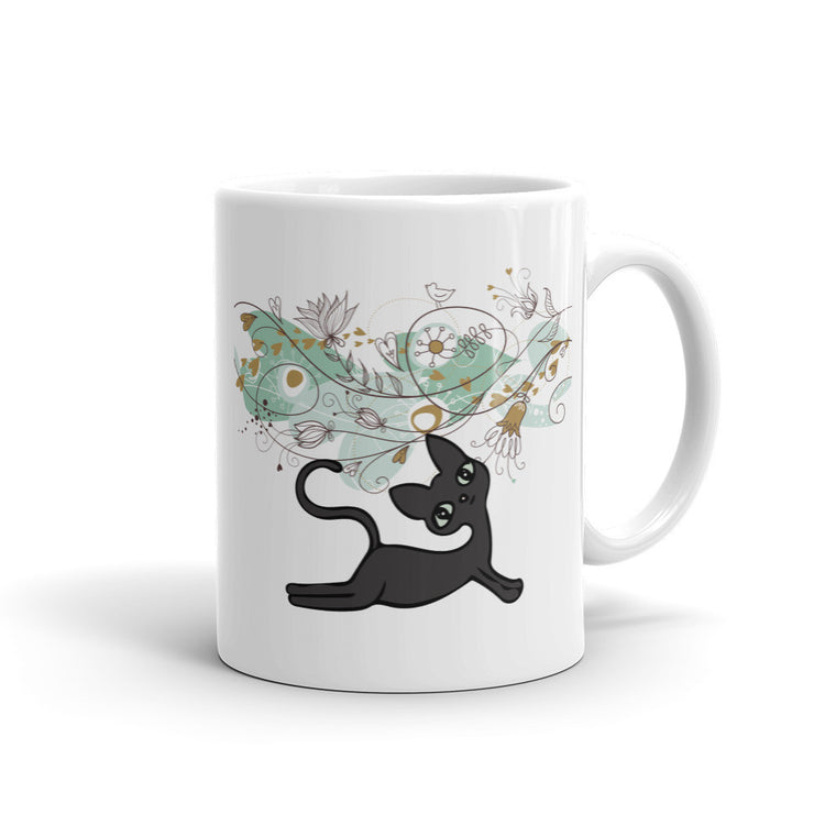 Black Upward Facing Cat Mug -  Mugs - 4 Paws Merch