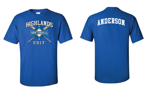 Highlands MS Softball Short-sleeve T-shirt with name