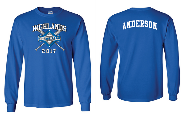 Highlands MS Softball Long-sleeve T-shirt with name