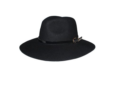 Black 100% Wool Panama Style Hat - The London