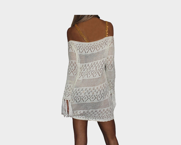 0f92517b009fa ... Off-White Gold Sequins Strap Apres Beach Cover-up - The Tuscany ...