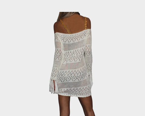 bd45c3b0f68 ... Off-White Gold Sequins Strap Apres Beach Cover-up - The Tuscany