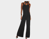Black & Silver Strap Retro Tuxedo Jumpsuit - The Monte Carlo
