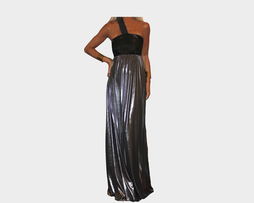 Black & Silver Metallic One Strap long dress - The Cannes