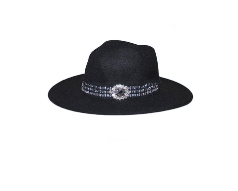 Black Panama Style Felt Hat - The Park Avenue