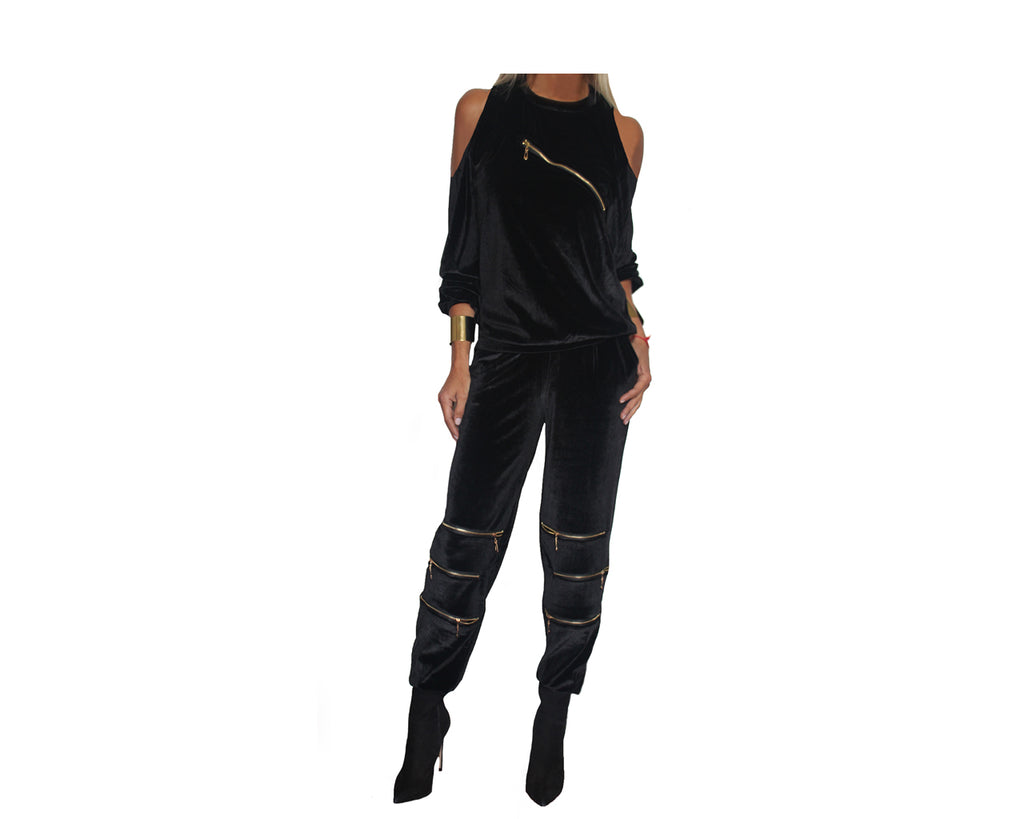 Black Cold Shoulder Dressy Jog Suit - The LA